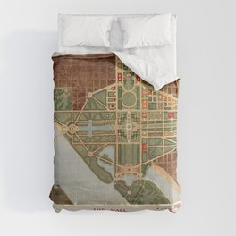 The Mall, Washington D.C. Map (1915) Comforters