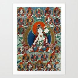 Buddist Art - Thangka with White Tara Art Print