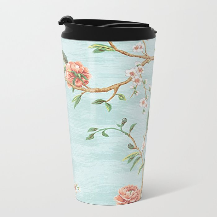Rose bushes have thorns -Roses Flowers Floral Vintage Retro on Aqua Metal Travel Mug
