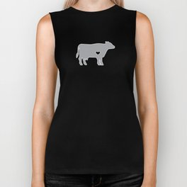 I Love Cows Cute Cattle Bovine Farmer Rancher Silver Biker Tank