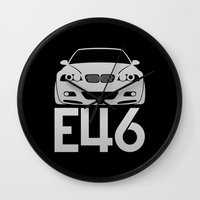 bmw Wall Clocks featuring BMW E46 M3 - silver - by Vehicle
