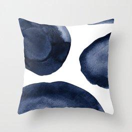 Indigo Watercolor Circles Throw Pillow