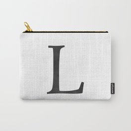 Letter L Initial Monogram Black and White Carry-All Pouch