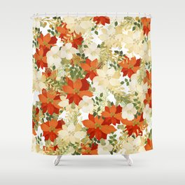 Poinsettia Collage Shower Curtain