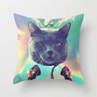 saga Throw Pillows featuring galactic Cats Saga 3 by Carolina Nino