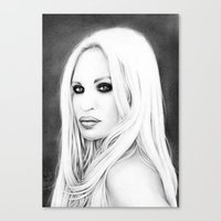 versace Canvas Prints featuring Donatella Versace by Denda Reloaded