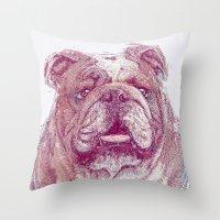 bulldog Throw Pillows featuring Bulldog by Ahmad Mujib