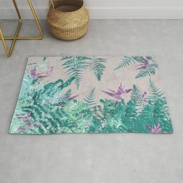 Ferns and Parrot Flowers Rug