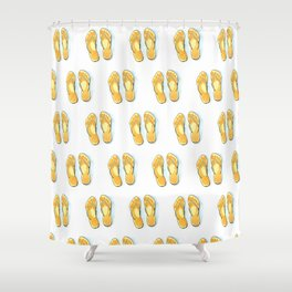 Happy flip flops summer vibes Shower Curtain