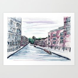 Canal in the city of Birmingham, England, Watercolour Painting Art Print