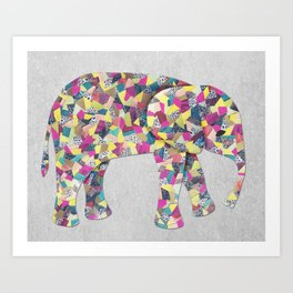 Elephant Collage in Gray Hot Pink Teal and Yellow Art Print