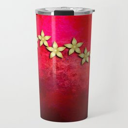 Spectacular gold flowers in red and black grunge texture Travel Mug