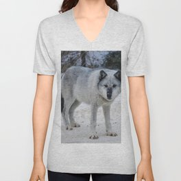 Lone wolf of the Canadian Rocky Mountains Unisex V-Neck