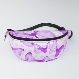 Butterflies In Violet Color - White Background #decor #society6 #buyart Fanny Pack