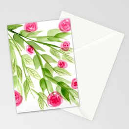 Pink Rosebuds in Watercolor Stationery Cards
