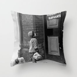 'Strictly No Elephants' vintage humorous child verses the world black and white photograph / black and white photography Throw Pillow