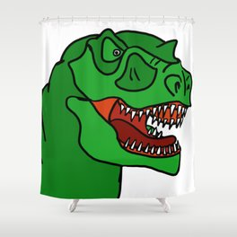 Green T-Rex Shower Curtain