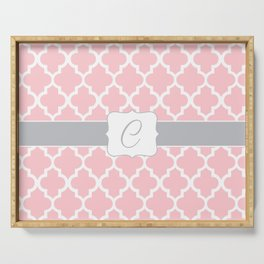 "Light Pink Moroccan Quatrefoil Pattern with ""C"" Monogram Serving Tray"