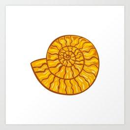 Ammonite Retro Art Print