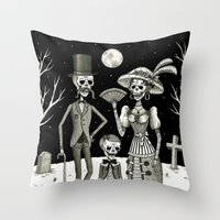 family Throw Pillows featuring Family Portrait of the Passed by Jon MacNair