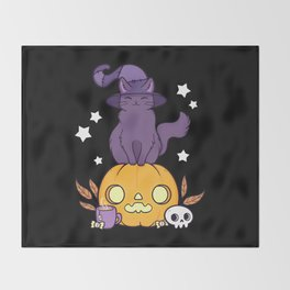 Pumpkin Cat // Black Throw Blanket
