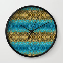 Retro India Lounge Pattern (turquoise) Wall Clock