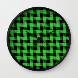 Lime Green  Bison Plaid Wall Clock