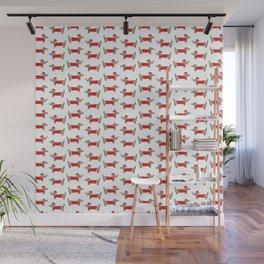 Christmas dachshund pattern Wall Mural