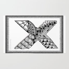 Zentangle X Monogram Alphabet Initial Rug