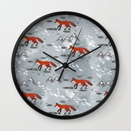 Little Mountain Foxes Grey Wall Clock