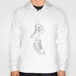 Sneakers simple minimal one line art, hanging shoes branded shoes  Hoody