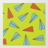 planes Canvas Prints featuring Paper Planes by evannave