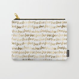 Gold Love Pattern Carry-All Pouch