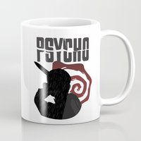 psycho Mugs featuring Psycho by Vickn