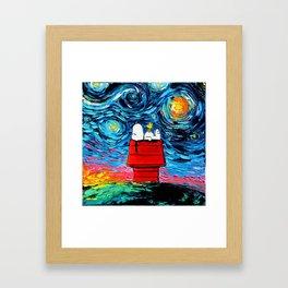 snoopy peanuts starry night Framed Art Print