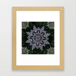 Rising Soul Mandala Design White Blue Green Framed Art Print