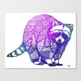 Zentangle Raccoon  Canvas Print