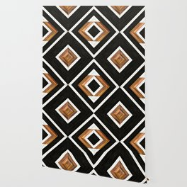 Urban Tribal Pattern 1 - Concrete and Wood Wallpaper