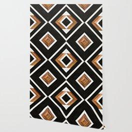 Urban Tribal Pattern No.1 - Concrete and Wood Wallpaper