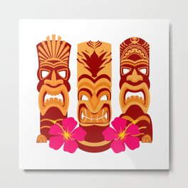 Tiki Statues Set Metal Print