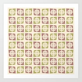 Mid Century Modern Pattern 273 Brown Chartreuse Art Print