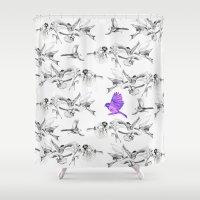 saga Shower Curtains featuring BIRD GEHRL by Saga-Mariah