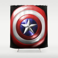 shield Shower Curtains featuring Cap's Shield by DeVilleTrades