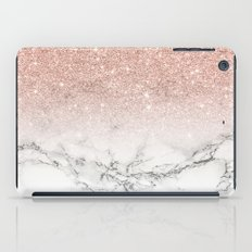 Modern faux rose pink glitter ombre white marble iPad Case