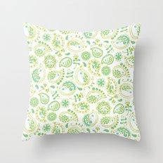 Hedgehog Paisley_Green and White Throw Pillow