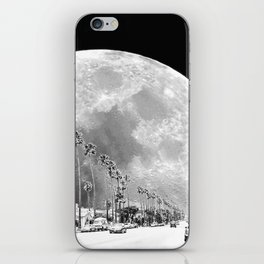 California Dream // Moon Black and White Palm Tree Fantasy Art Print iPhone Skin