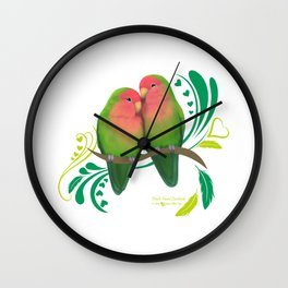 Peach Faced Lovebirds Wall Clock