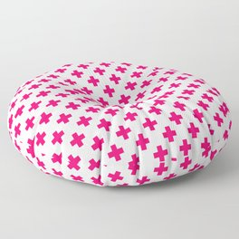 Hot Neon Pink Crosses on White Floor Pillow