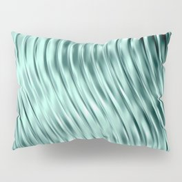 Modern Abstract Shiny Waves Glass Optical Illusion,Reflective Light, Ocean Teal Pillow Sham