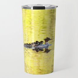Bird's Family Happiness - Lake Reflection - Summer Scene Travel Mug
